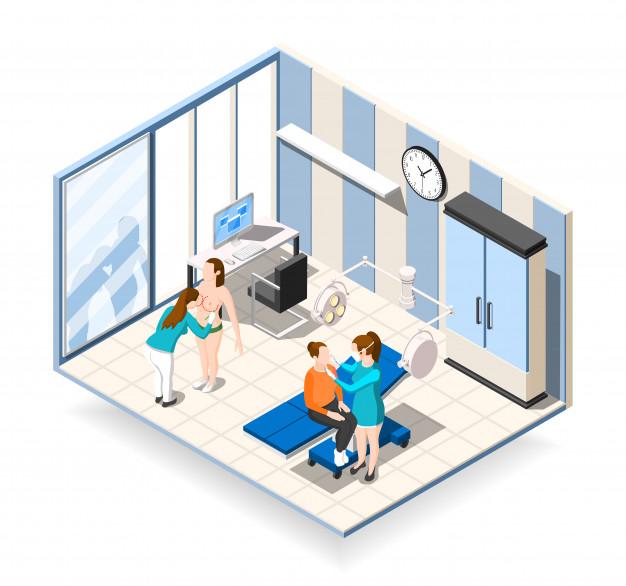ilustración sala de intervenciones hospital.